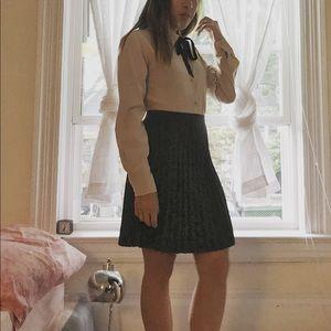 Pleated gray pencil skirt
